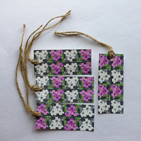 Gift tags, rectangle, digitally printed, Flower design