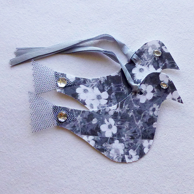 Gift tags, birds, flowers, silver grey & white