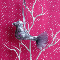 Bird decoration, hanging bird - Silver