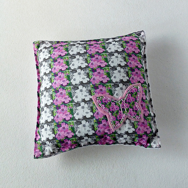 Decorative mini cushion, butterflies and flowers