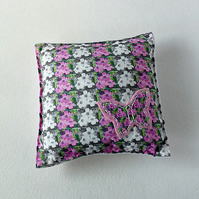 Cushion - mini - pink & white - butterflies & flowers