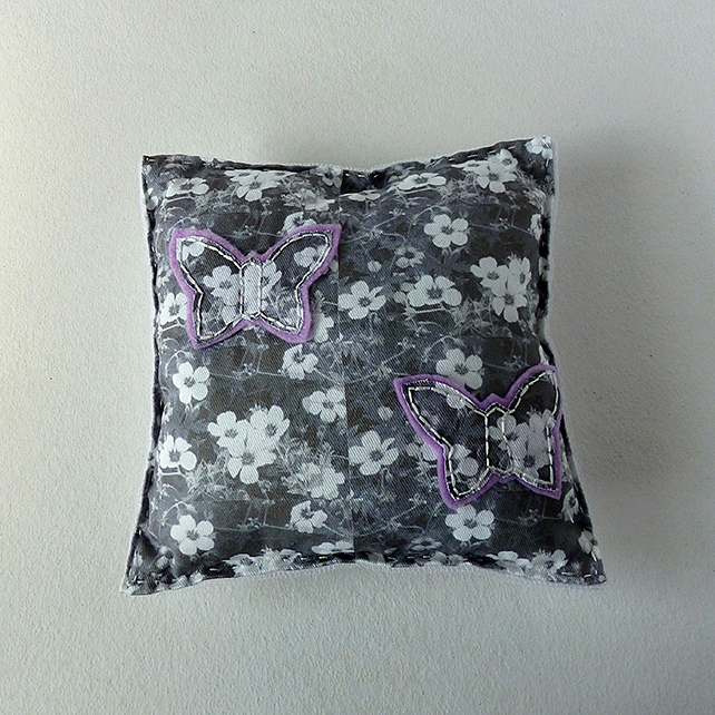 Decorative mini cushion, butterflies and flowers design, silver grey and white