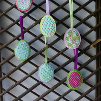 Easter egg shaped hanging decoration - lilac ribbon