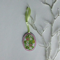 Hanging decoration - green and pink