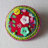 Decorative Brooch pin, round, fabric, flower design, buttons & beads, Felicity