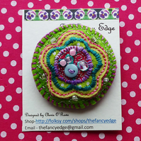 Decorative brooch, round, flower design, buttons & beads, 'Gracie'