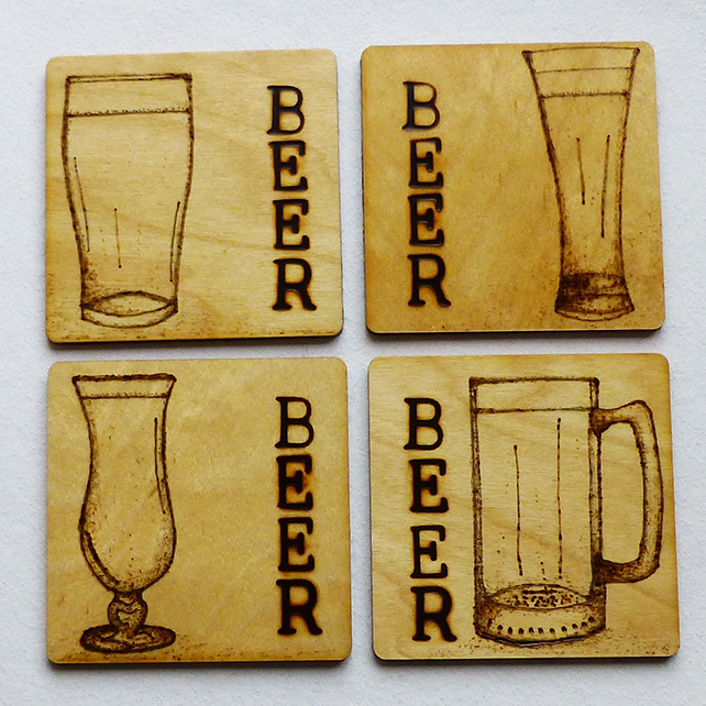 Coasters, beer, wooden, pyrography, set of four