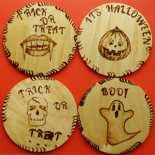 Halloween wooden Trick or Treat coasters