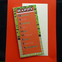 Happy Halloween card – orange and green
