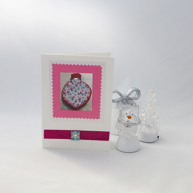 Cards - Christmas - pack of four, pink
