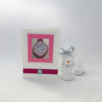 Christmas cards, pack of four, pink