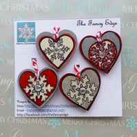 Hearts - hanging decorations - snowflakes - red, silver, pack of four