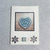 Christmas card, heart, blue & silver