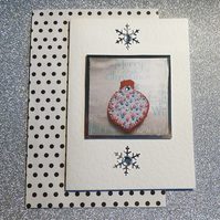 Card - Christmas card, Christmas Bauble, pink