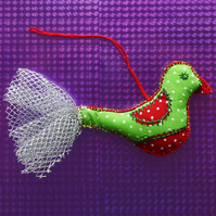 Christmas Decoration, hanging decoration, hanging bird, fabric bird