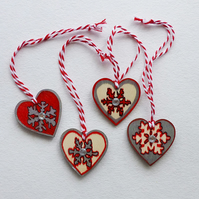 Hanging decorations, hearts, snowflakes, Christmas, red & silver