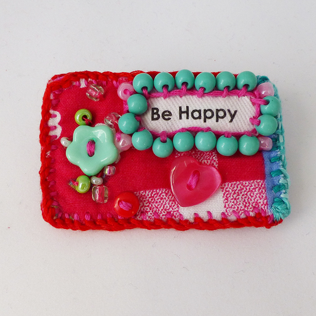 Be Happy Brooch pin,