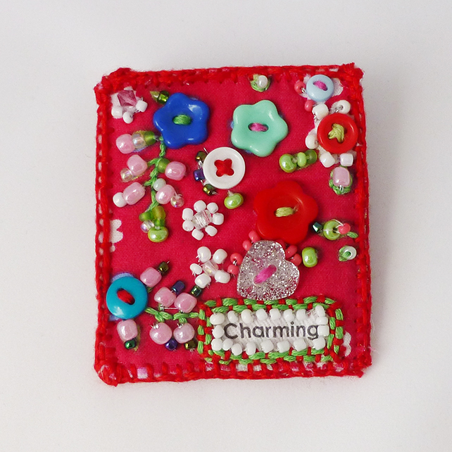 Brooch pin - Charming flower garden