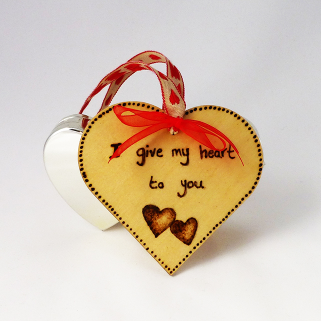 Wooden heart decoration, hanging heart, love heart