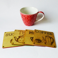 Coasters,Coffee, tea, wooden, pyrography, set of four