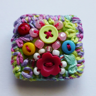 Brooch pin, pastel rainbow flower brooch