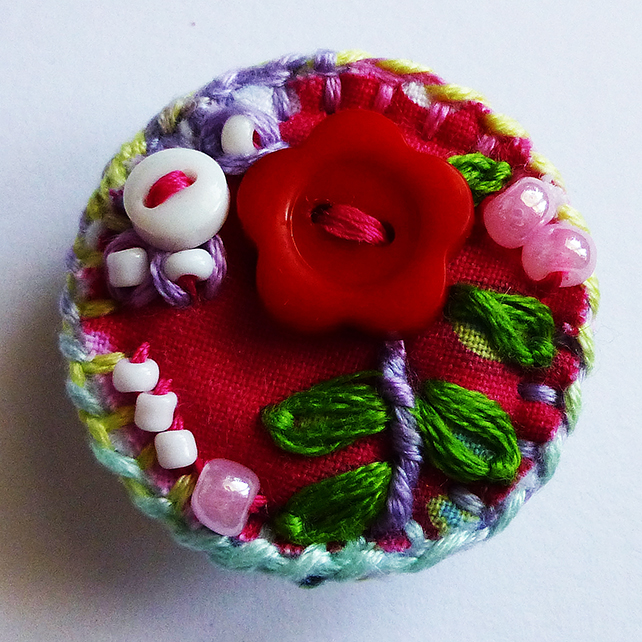 Brooch, mini colourful flower brooch