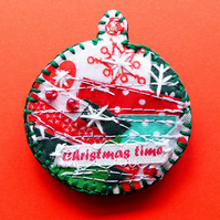 Christmas bauble brooch pin, Christmas time