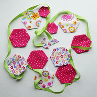BUNTING – POLKA DOT PINK & FLORAL WITH A LIME RIBBON