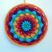 Crochet rainbow mandala hanging, large handmade mandala home decor.