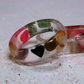 Minimalist clear resin stackable band ring with healing crystal pieces