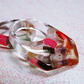 Abstract chunky clear resin giant statement ring set with healing crystal pieces
