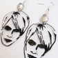 Nick Rhodes Duran Duran illustrated shrink plastic earrings with crystal detail
