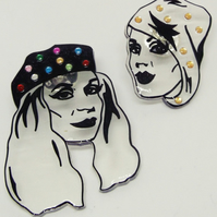 Patsy and Eddie Absolutely Fabulous hand drawn sparkly shrink plastic pin badges