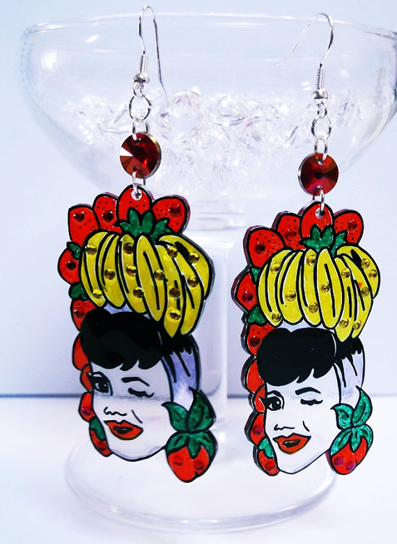 Carmen Miranda mini illustrated shrink plastic drop earrings with sparkles