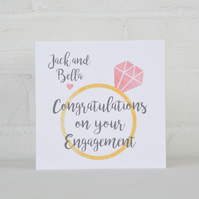 Diamond Ring Personalised Engagement Card