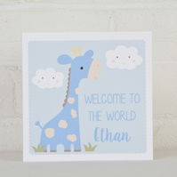 Giraffe Personalised New Baby Card