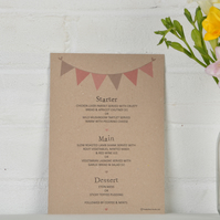 Bunting - Bespoke Wedding Menu