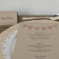 Bunting Wedding Table Place Cards
