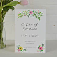 Wedding Order of Service - Floral