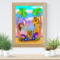 Agate Crystal Fairy & Tiger Art Printable Download JPEG Fantasy art print
