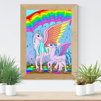 Rainbow Rain Pegasus Art Printable Download JPEG Fantasy wall art Unicorn Poster