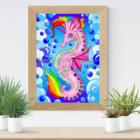 Rainbow Unicorn Seahorse Art Printable Download JPEG Fantasy wall art Poster