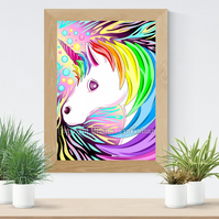 Rainbow Unicorn Art Printable Download JPEG Fantasy wall art Unicorn Poster