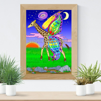 Giraffe with wings Art Printable Download JPEG Fantasy wall art Giraffe Poster