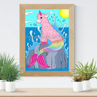Llama-corn Mermaid Art Printable Download JPEG Fantasy wall art Llama Poster