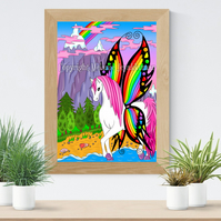 Butterfly Pegasus Art Printable Download JPEG Fantasy wall art Unicorn Poster