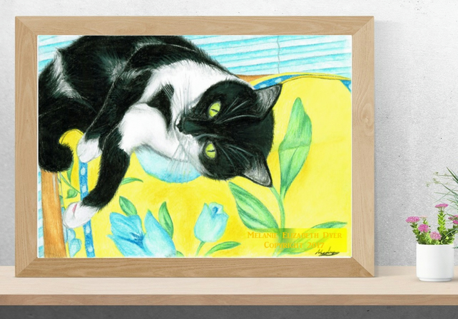 Black and White Cat Art Printable Download JPEG Cat wall art Kitty Poster