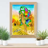 Camel with Wings Art Printable Download JPEG Fantasy wall art Desert Poster