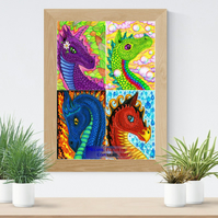 Four Elements Dragons Art Printable Download JPEG Fantasy wall art Dragon Poster