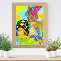Easter Bunnies with Wings Art Printable Download JPEG Rabbit wall art Poster